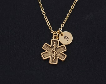 diabetes necklace, gold filled, initial necklace, gold medical alert charm, emergency medical necklace, Christmas gift, birthday gift