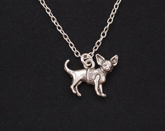 chihuahua necklace, long necklace option, silver dog charm on silver plated chain, doggy jewelry, gift for kid,dog pendant,small dog pendant