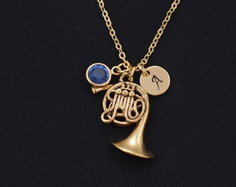 initial necklace, french horn necklace, birthstone necklace, gold french horn charm necklace, french horn player gift, marching band