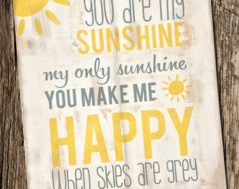 "You Are My Sunshine Distressed Wooden Sign 18"" x 22"""