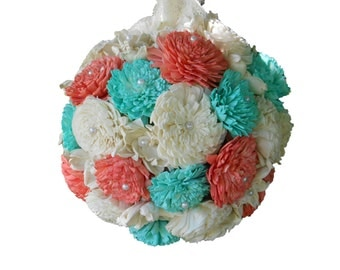 Mint and Coral Kissing Ball, Centerpiece, Flower Girl Kissing Ball, Wedding Decor, Sola Flowers