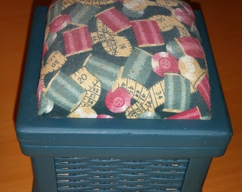 Pin Cushion Sewing and Crafts Storage Box
