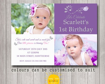 Girl Birthday Photo Invitation Personalised Printable Any Age 1st Birthday Purple and Silver Glitter