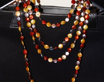 """Free Shipping Vintage Multicolor Coin Pearl Necklace, 100"""" inches Long, 160 grams."""