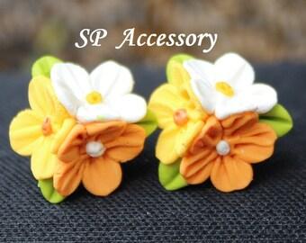 Sweet Flower Bouquet earrings, clay flower, earrings clay, jewelry earrings, flower earrings, clay earrings