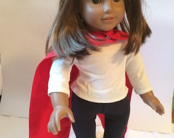 Superhero cape in bright red for your 18 inch or American Girl doll