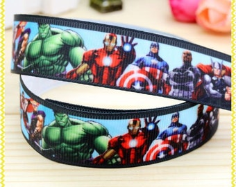 "Lot of 2 Metres of 7/8"" Grossgrain Ribbon - Avengers #2 - For Craft"