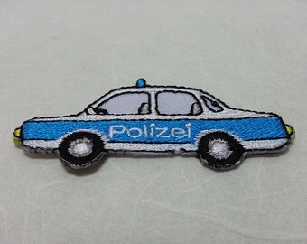 Police Car Iron on Patch (S1) 6.2 x 2.7 cm - Police Car Applique Embroidered Iron on Patch
