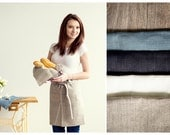 Natural Cafe APRON - Chef Apron - Linen APRON - Waist Apron - Kitchen apparel - Chef apparel - Half Apron - Grey apron
