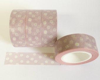 Washi Tape Soft Pink With White and Yellow Daisies White Flowers  Washi Tape 15mm / 10 Yards