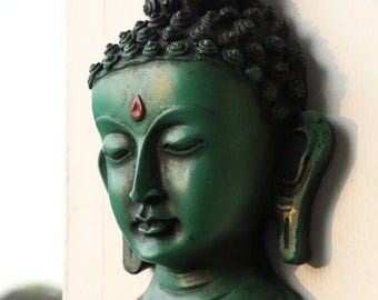 Clay Buddha Wall Hanging in Brown or Green