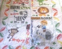 Baby Blanket- Baby Quilt- Jungle Baby Bedding- Safari Baby Quilt- Baby Blanket Cross Stictch
