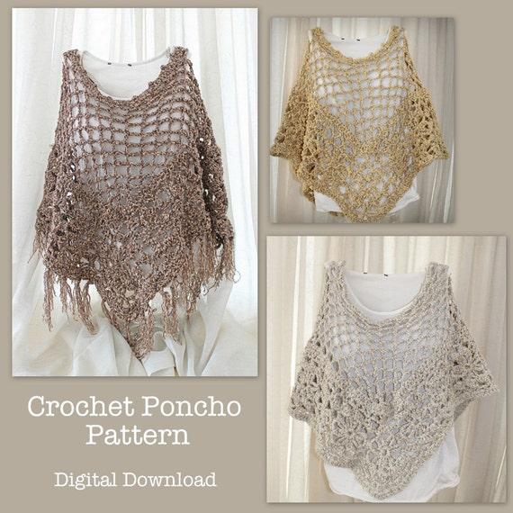 Bohemian Poncho Free Crochet Pattern : Crochet Poncho Pattern boho fringe poncho crochet by ...