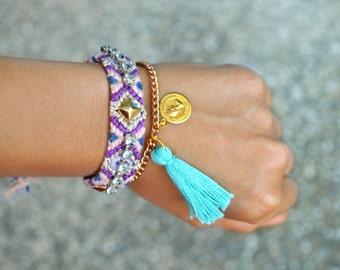 Rhinestone friendship bracelet Ibiza style multicolor bracelet Boho chic arm candy Bohemian jewelry Hippie chic bracelet OOAK gift for her