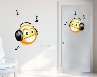 Headphone Wall Cling Etsy - Emoji wall decals