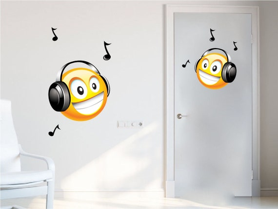 Headphones Emoji Bedroom Wall Decals