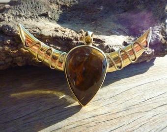 """Tiger's eye & Brass Taurus pendant """"APIS"""""""