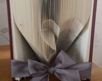 Heart book fold, valentine book fold, heart folded book, heart folded book art, paper anniversary, first anniversary, wedding gift