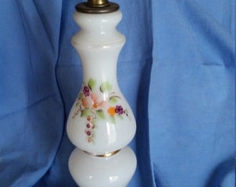 Lamp, white, hand painted flowers