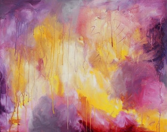 PRINT abstract purple yellow grey magenta painting, modern home decor