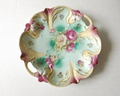 RS Prussia German Porcelain Plate, Gilded Floral Molded, Rose Center