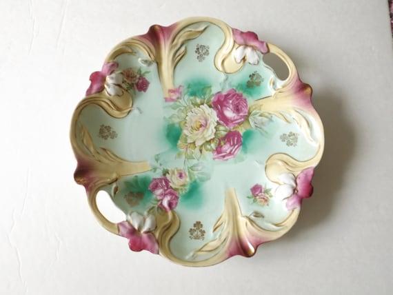 Rs Prussia German Porcelain Plate Gilded Floral Molded Rose