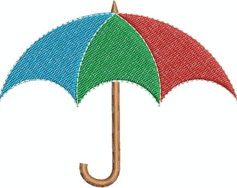 Digital Embroidery Design - Umbrella