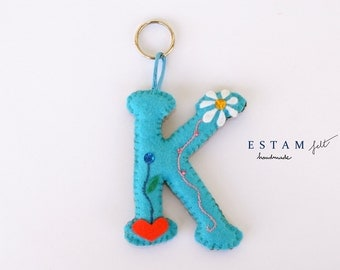 Keyring violet green blue pink letter H felt complement embroidered woman baby ornaments heart