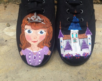 Sofia painted girls shoes. [Kids sizes] cartoon design. Slazenger children sneakers plimsolls pumps.Princess castle cute girly birthday gift