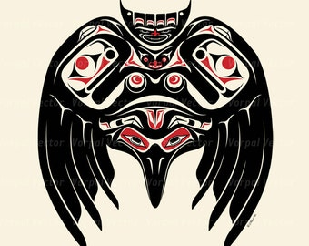 Raven Print, Native American Style, Pacific Northwest, Salish, Bird Art, Tribal  — Giclee Print