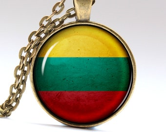 Lithuanian Jewelry Lithuania Pendant Vilnius Necklace Lithuanian Flag  LG409