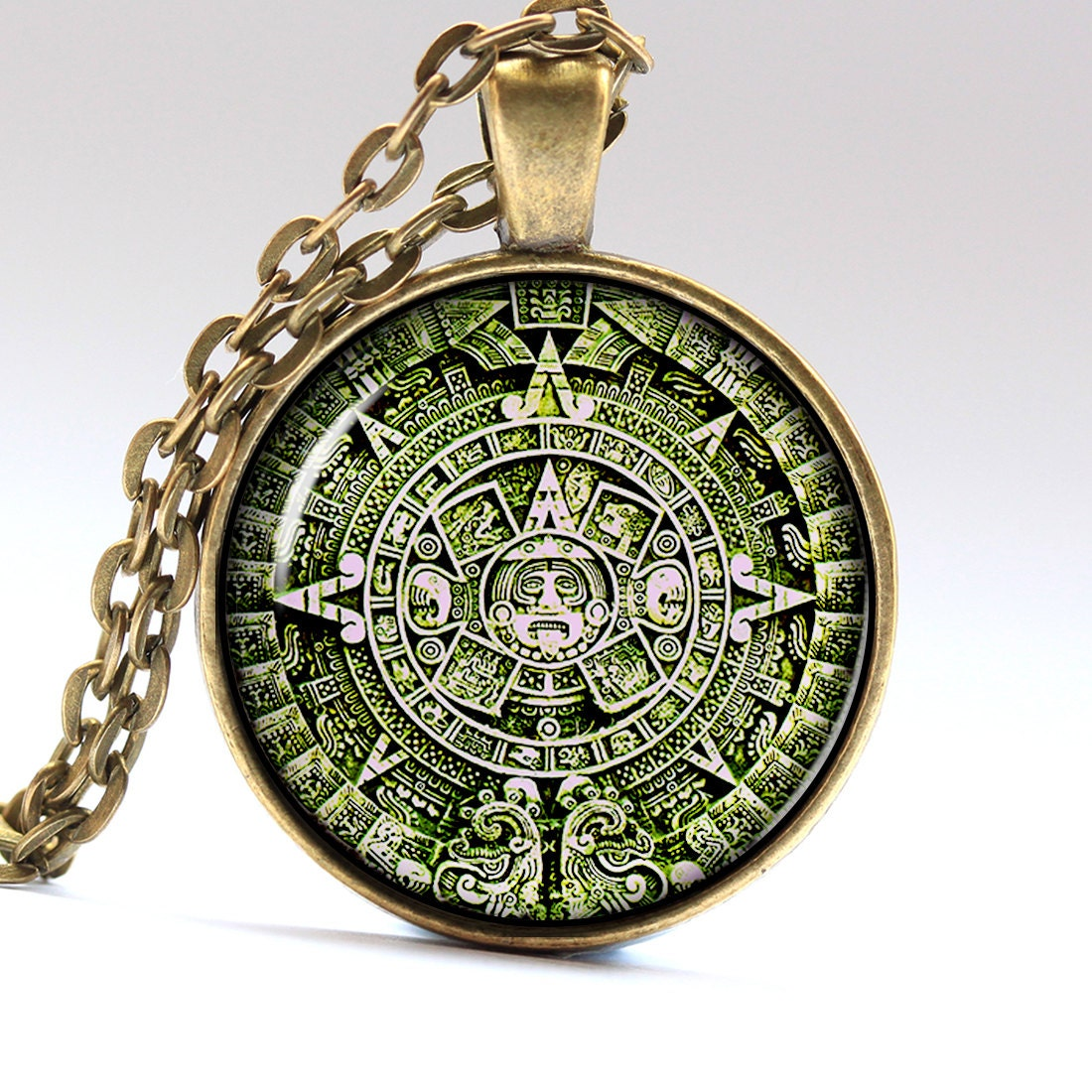 Green Aztec Jewelry Aztec Calendar Mexican Necklace By