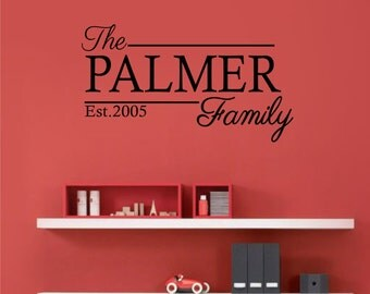 Family Name with Established Year Wall Art Decal Sticker for Home Decoration REMOVABLE 1049