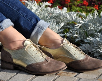 Covent - Womens Brogues, Womens Leather Oxfords, Brown Handmade Shoes, Lace up Shoes, Chic Custom Shoes, FREE customization!!!
