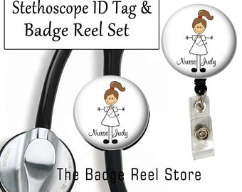 Retractable ID Badge Holder & Stethoscope ID Tag, Name Tag, Personalized, Nurse