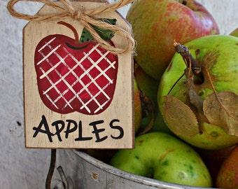 Apple Jar Tag, Apple Basket Tag, Apple Decor Decorations, Primitive Apple Kitchen, Apple Ornament Ornie, Rustic Apple Sign, Hang Tag