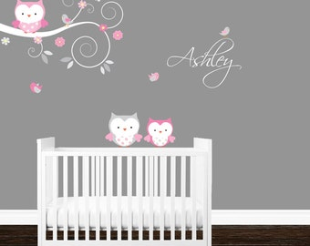 Baby Wall decals, Girls Nursery Branch decal, Owl branch wall decal