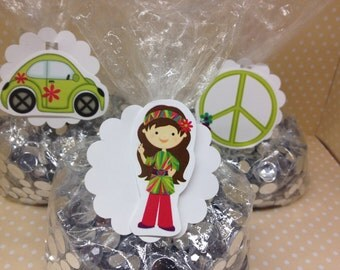 60's - 70's Hippie, Peace, Smiley, Volkswagen Party Candy or Favor Bags With Tags - Set of 10