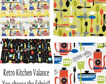 Retro Kitchen Curtain Valance You Choose The Fabric! Add A Bit Of Whimsy To  Your