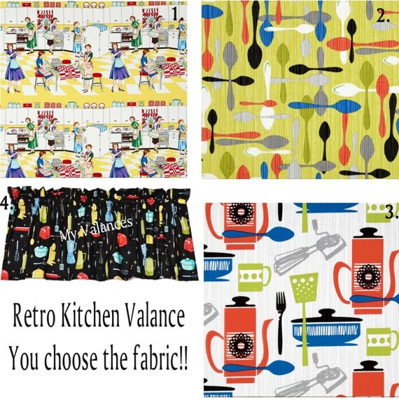 Kitchen Curtains Fabric Curtains Fabric Stripe Drapes: Retro Kitchen Curtain Valance You Choose The Fabric Add A Bit
