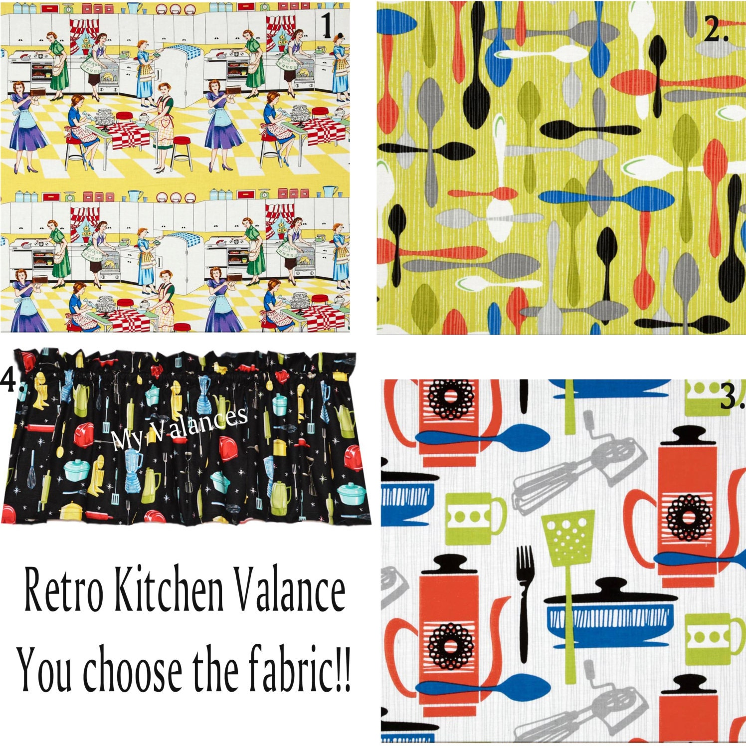 Retro Kitchen Curtain Valance You Choose The Fabric Add A Bit