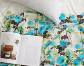 Fabric Linen 55inch watercolor floral pattern Blue Fabric by the yard #160