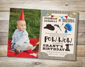Cowboy and Indian Birthday Invite w/ Photo