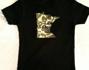 MN T-shirt, camo T-shirt, kids camo T-shirt, kids mn shirt, mn tshirt, mn kids shirt, kids mn shirt, kids camo