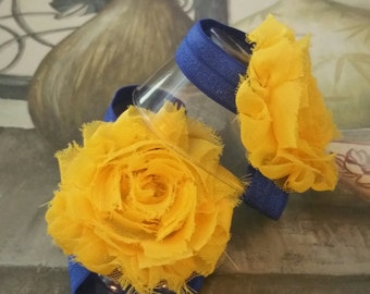 Rag Rose Baby Navy and Yellow Barefoot Sandals