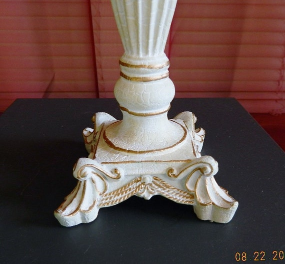 shabby white table lamp antique white with gold by. Black Bedroom Furniture Sets. Home Design Ideas
