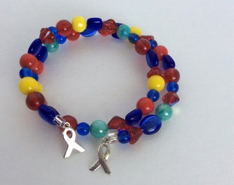 Handmade Autism Awareness Wrap bracelet