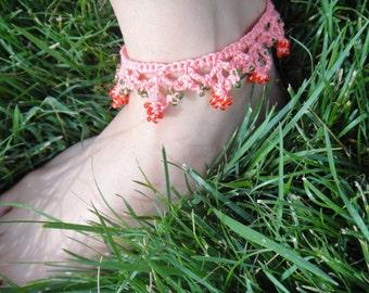 Crochet anklet. Lace anklet. Beaded anklet. Tassel anklet.