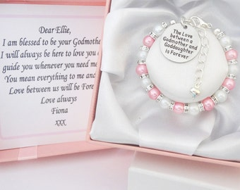 6mm bead & rhinestone spacers Love between....Godmother/Goddaughter Bracelet, *Other Colours* boxed,girl,baptism,blessing,christening.