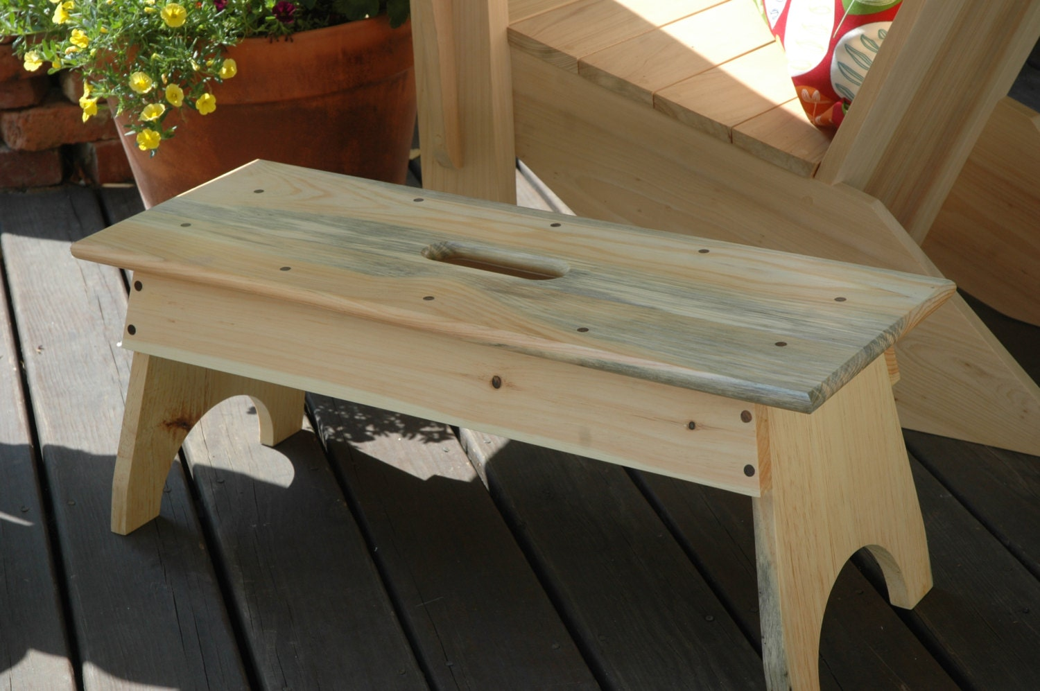 Long Pine Wood Step Stool with Handle by PeredinaWoodworks ...